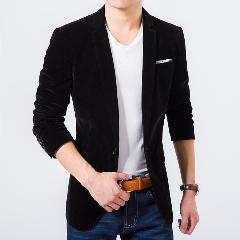 Mens Blazer High Quality Suit Jacket Korean Fashion Velvet Blue