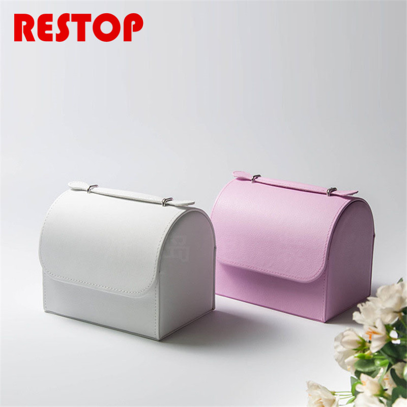 2017 Hot Sales Korean Princess Jewelry Storage Box Travel Makeup Organizer Faux Leather Case Cosmetic Case Organizer RES826