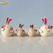 DMLS Vallatic Round Rabbit Figures Cartoon Garlic Bunny Resin Figurines Handmade printed Artware Gift 2 pcs/set Free Shipping