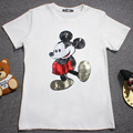 2016 Women Mickey Mouse T-shirts  Girls Casual Lady Top Tees Cotton T-shirt Female Brand Clothing Flower  Printed Tops