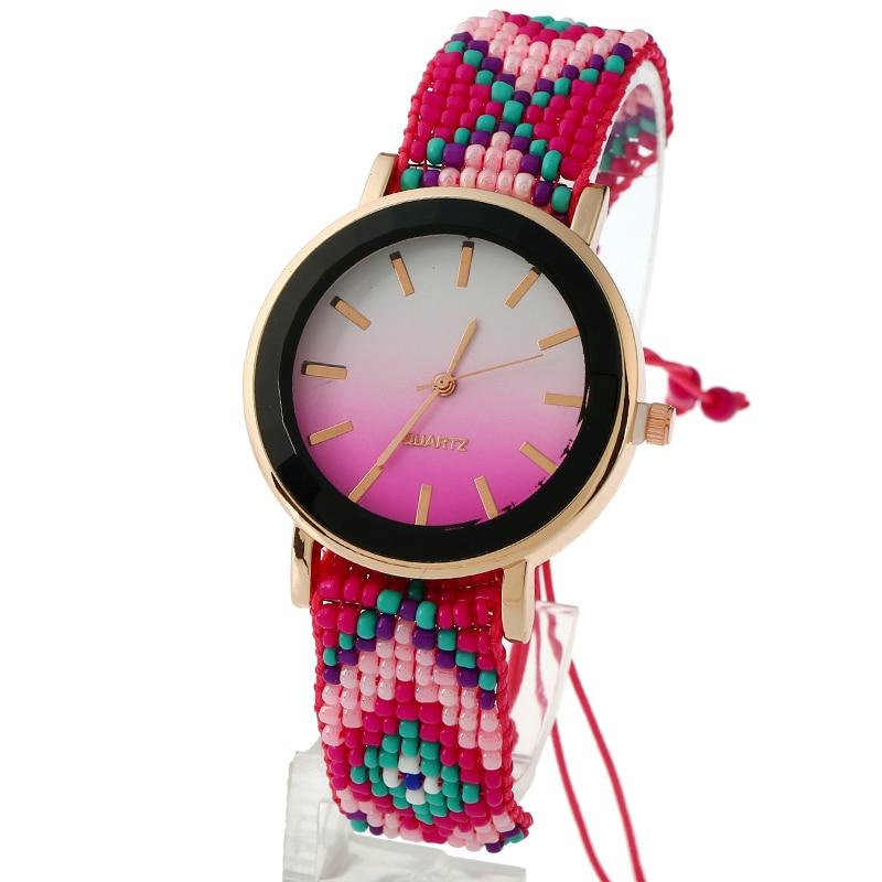 Gnova platinum Women Watch Beach Fashion Ethnic Style Ipanema Summer Dawn Dial Mexican Chaquira Braided Quartz Wristwatch A839