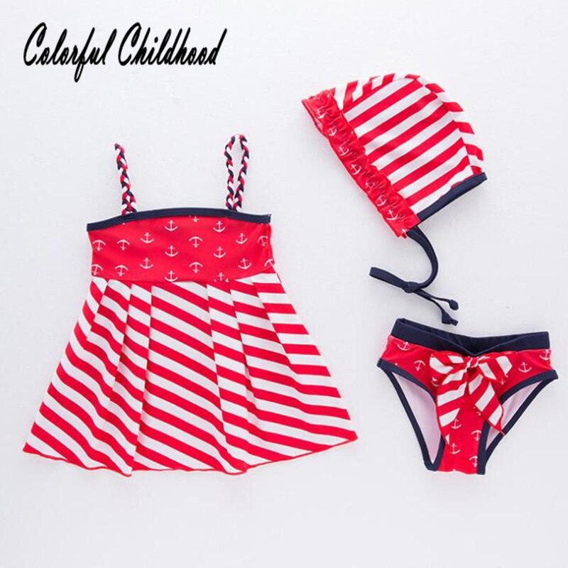 2 3 4 5 6 Jahre Mädchen Badeanzug Sommer Sailor Stil Rot Tinte Weiße Streifen 3 Stück Sets Kleinkind Baby Badeanzug Kinder Bikini Sets Klar Und GroßArtig In Der Art
