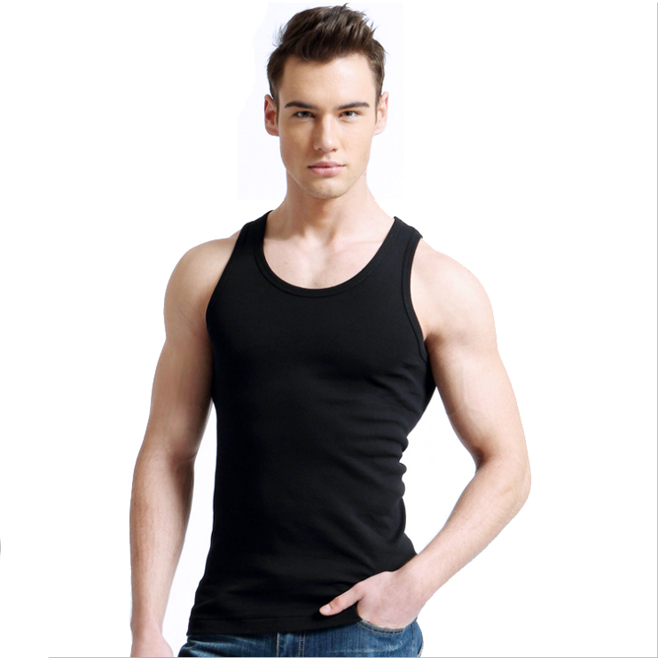 Cheap Cotton Polyester Men's Tank Tops Fitness Undershirt Vest Singlet Sleeveless Men Shirt