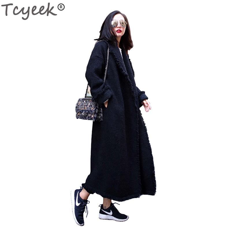 Laine Manteau D'hiver 2019 Et Mode Femmes Yyj293 Super Épais De Balck Tcyeek Chaud Hiver Col Long Veste Femme Manteaux Costume rCtsQhd
