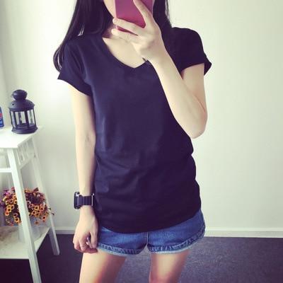2018 novo desgaste do verão novo estilo mulher folgada T-shirt curto branco T-shirt da menina