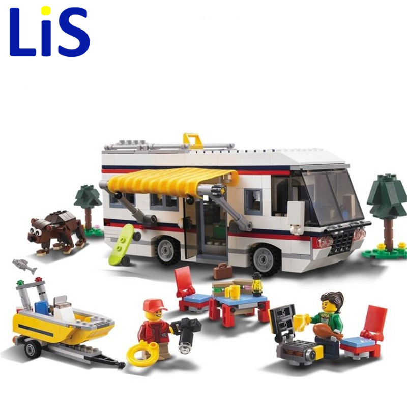 (Lis)3117 792pcs Vacation Getaways Camper Summer Home Architect 3 In 1 Building Block Compatible 31052 Brick Toy decool 3117 city creator 3 in 1 vacation getaways model building blocks enlighten diy figure toys for children compatible legoe