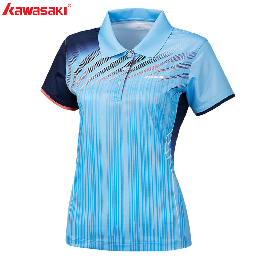 2019Kawasaki Women T Shirt Anti sweat Polyester Tennis Shirts Short Sleeve Collar sports Shirt For Ladies Fitnes Gym ST S2101 in Tennis T Shirts from Sports Entertainment