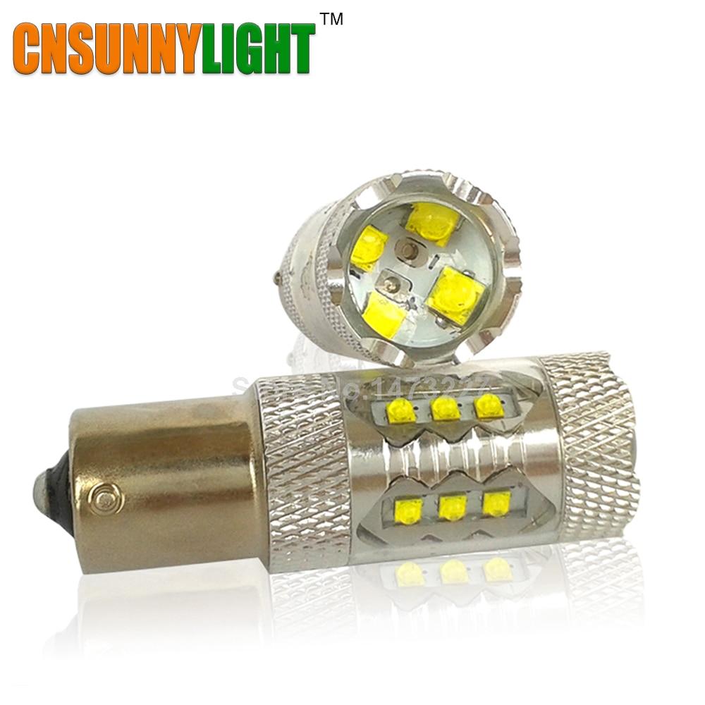 CNSUNNYLIGHT 1156/BA15S/P21W P21/5 w PY21W S25 coche luz Led 80 W freno de la cola señal bombilla 12 V 24 V blanco 6000 K