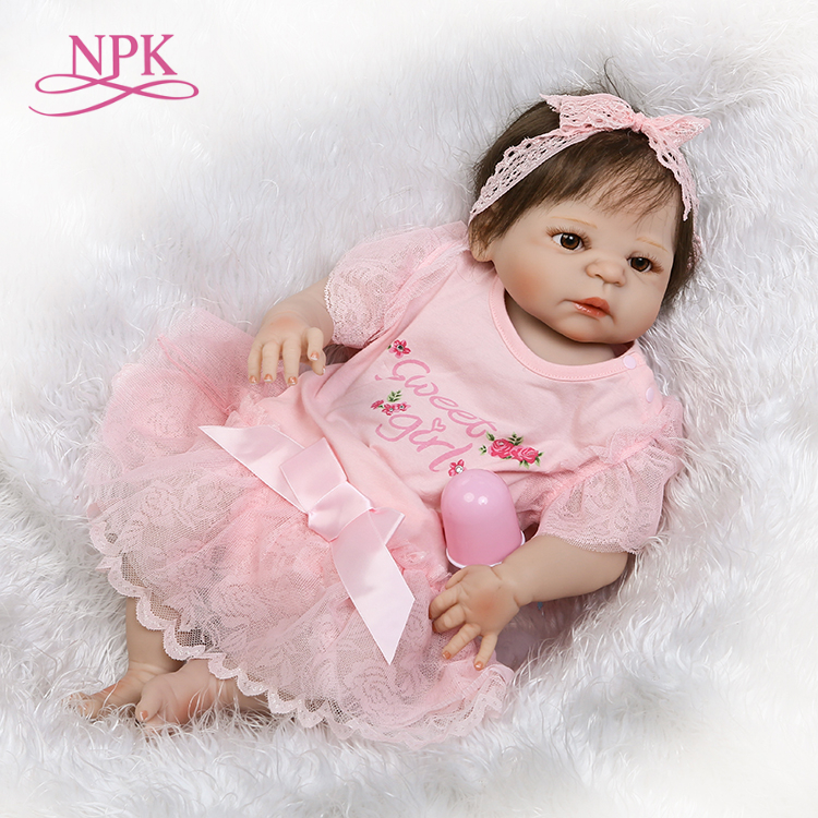 NPK lifelike full vinyl baby doll with real girl gender bebe reborn meninas gifts on Childrens day and Christmas
