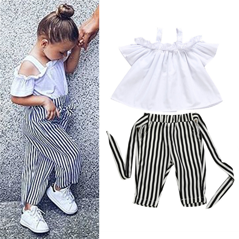 7ff04fbb17 2019 Fashion Kid Baby Girl Clothes Summer Off Shoulder Tops T-Shirt Stripe  Pant Toddler