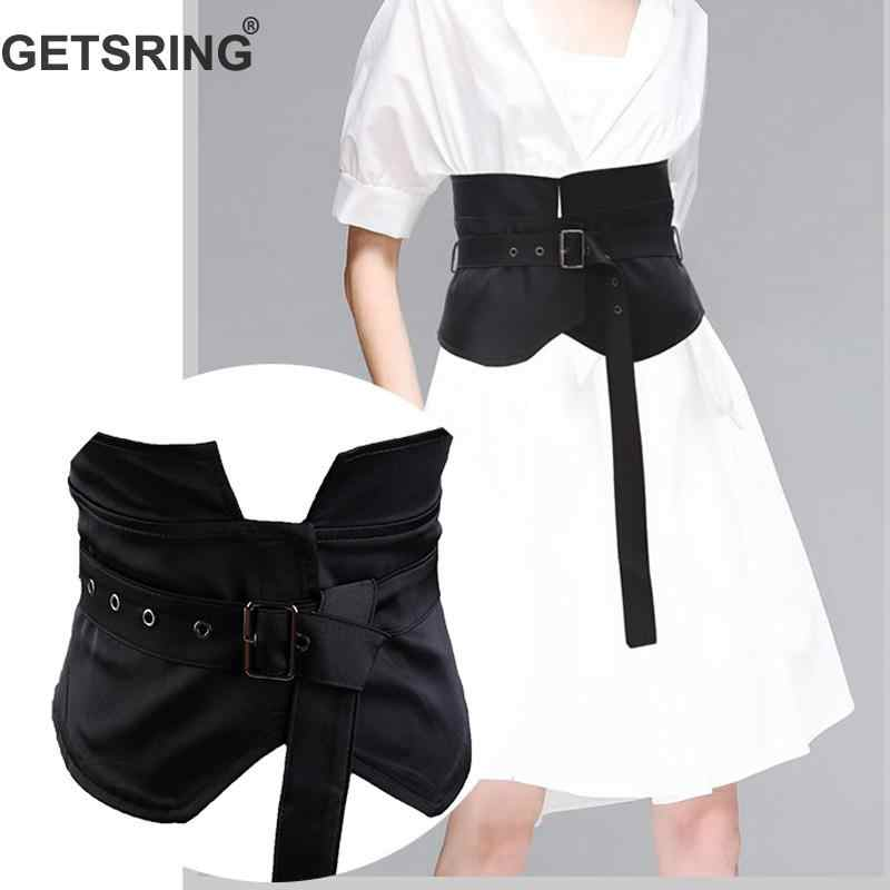 4234021cbb GETSRING Woman Belt Wide Black Stretch Belt All Match Cummerbund Retro  Solid Knotted Buckle Corset Belt