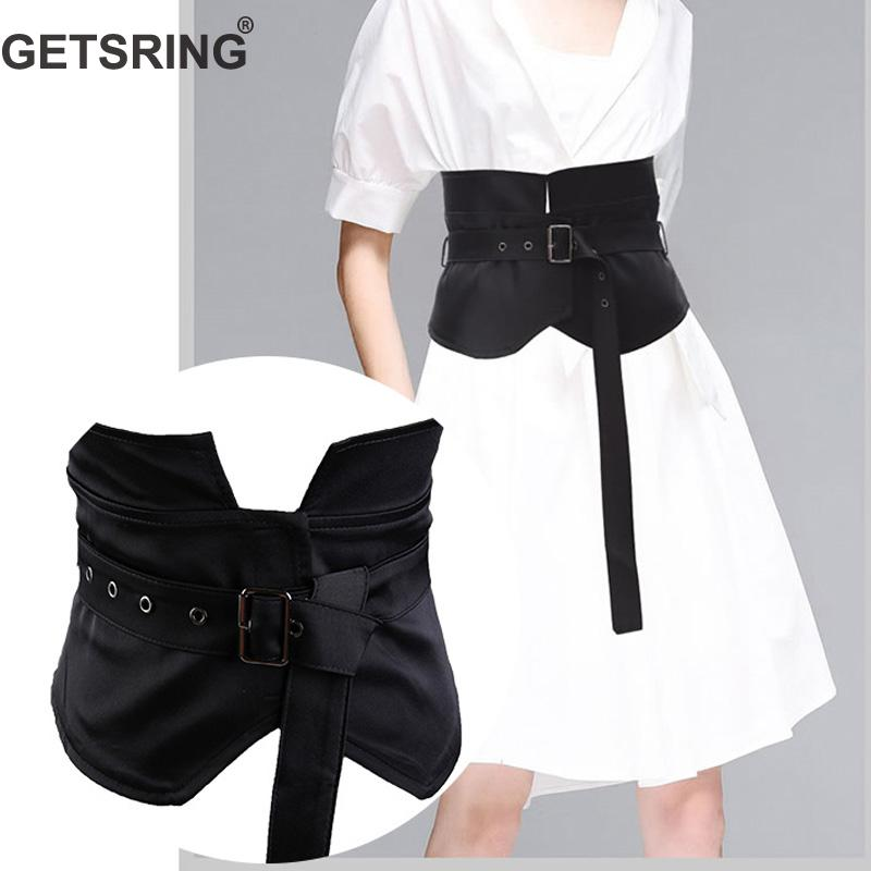 GETSRING Woman Belt Wide Black Stretch Belt All Match Cummerbund Retro Solid Knotted Buckle Corset Belt For Dress Slim Apricot