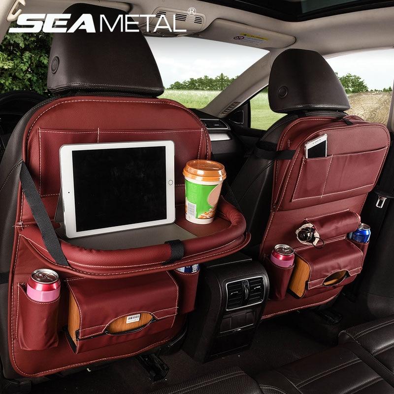 Organizador carro de Volta Saco De Armazenamento Assento Suporte de Copo Pendurado Mesa Universal Tablet Telefone Bolsos Estiva Tidying Acessórios Para Auto