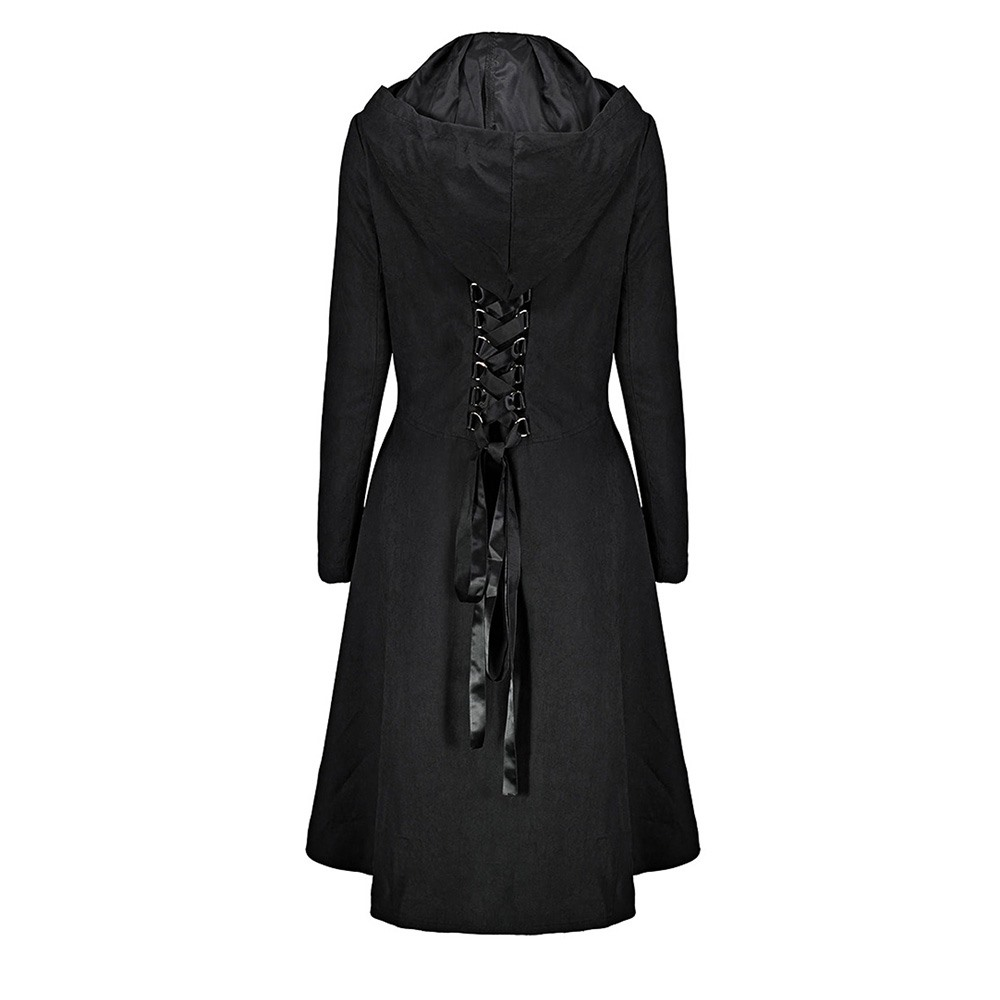2018 Fall Gothic Vintage Long Trench Coats Women Casual Office Lady Plus Size Loose Hooded Plain Button Pocket Lace Up Coats