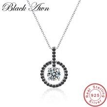 [BLACK AWN] Fine Necklace Women Genuine 100% 925 Sterling Silver Jewelry 2.7g Classic Round Necklaces&Pendants Bijoux Femme P017