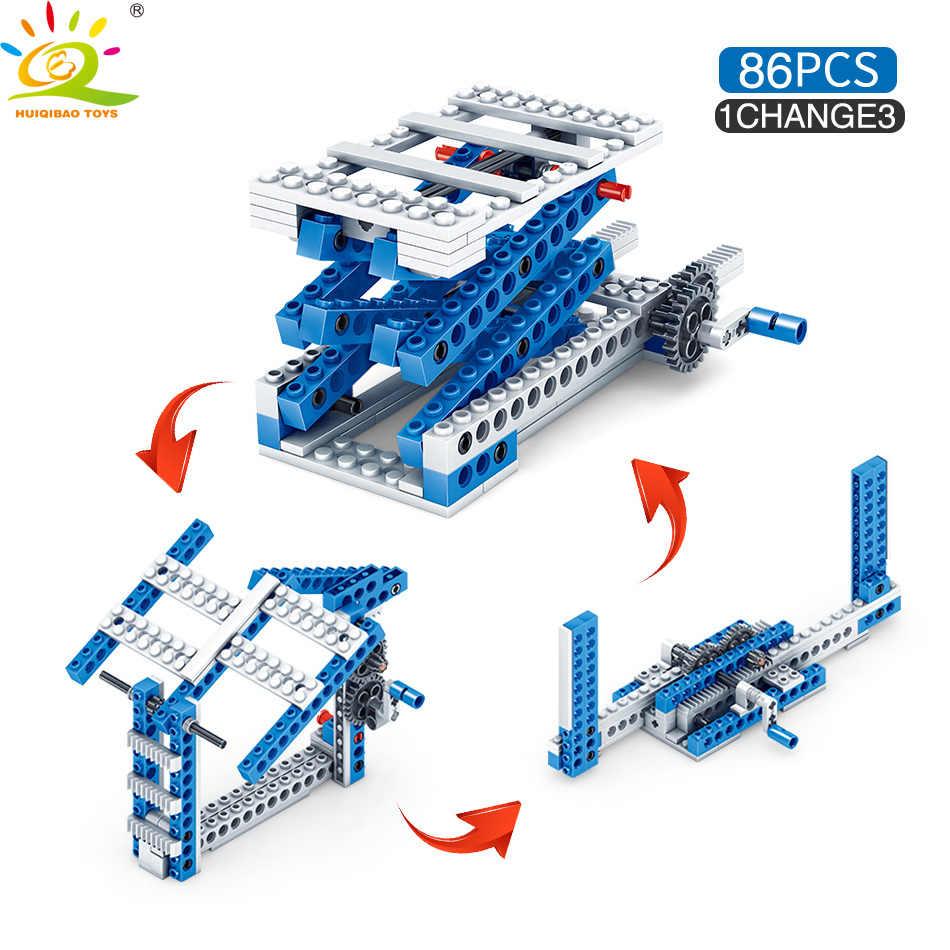 Huiqibao Mainan 354 Pcs 4in1 Penemu Mesin Truk Blok Bangunan untuk Anak-anak Kompatibel Secara Terbuka Teknik Insinyur Mobil Batu Bata