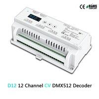 D12 Constant Voltage Led DMX512 Decoder;DC5 24V input;5A*12CH output;Din Rail RGB strip 12 Channel DMX Decoder controller