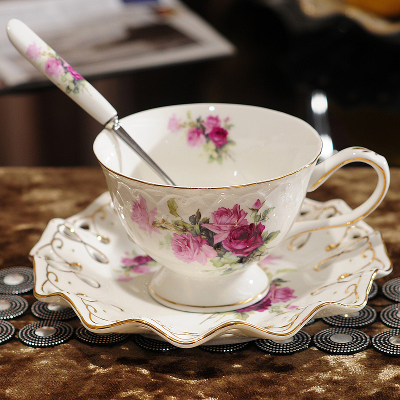 Continental European Tea Set Ceramic Coffee Cup Suit Gaya British Tinggi Gred Bone China Kopi Piala Dan Pinggan Dengan Sudu