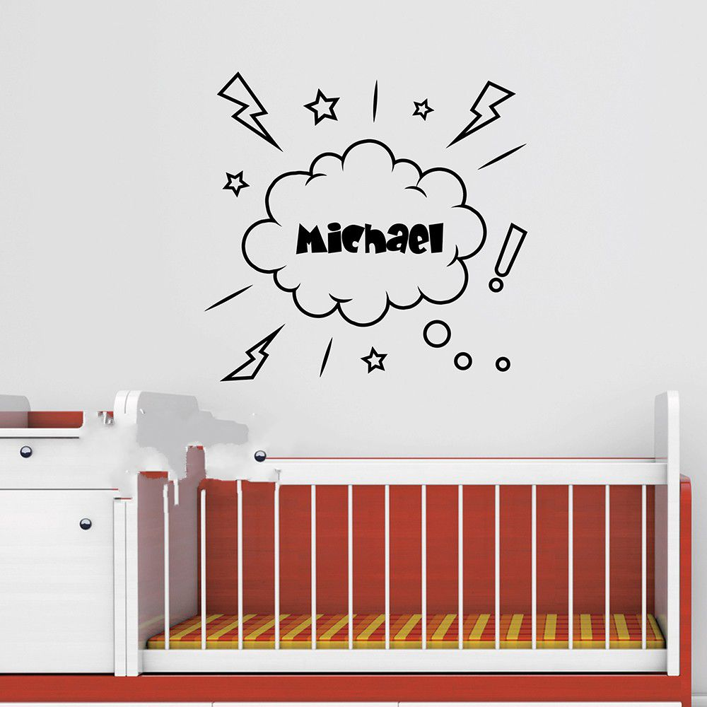 Cool Personalized Name Children Name Cloud Wall Sticker Baby Nursery Name Wall Decal Stickers For Kids Room Cut Vinyl Stickers