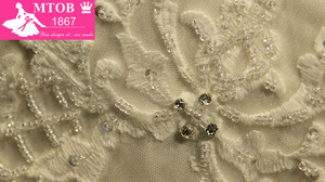 Image 3 - 세련된 섹시한 연인 샴페인 웨딩 드레스 레이스 구슬 장식 주름 치마 로브 드 mariage acutaul 이미지 mtob1793
