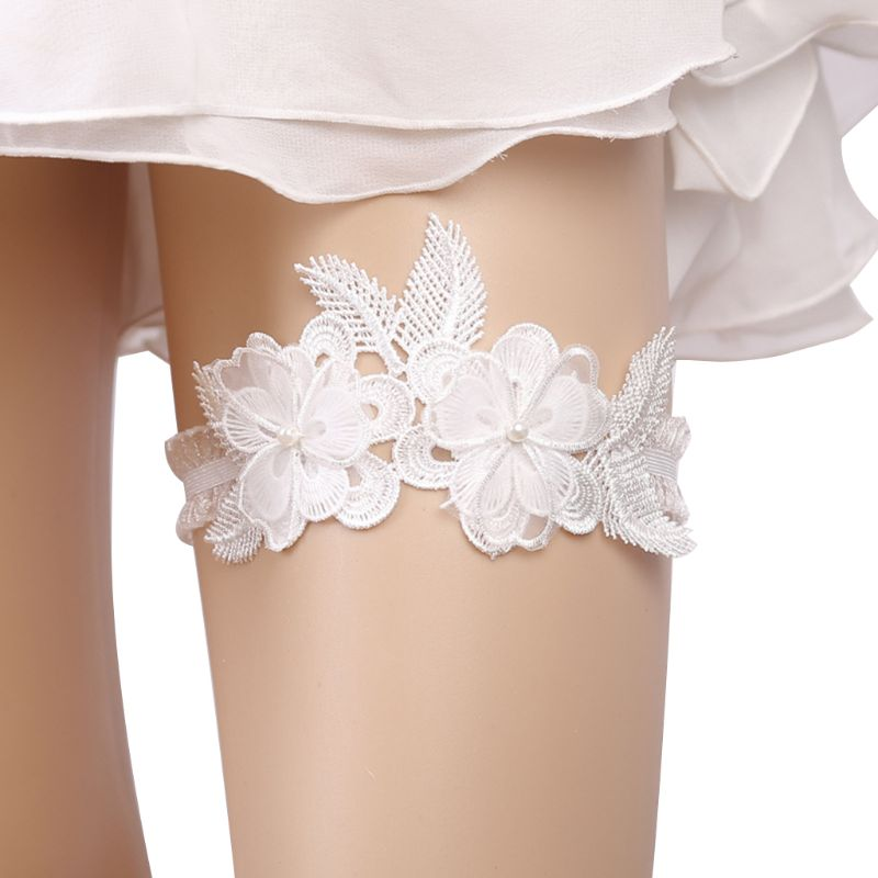 Women Wedding Bridal Delicate Crochet Floral Leaf Lace Thigh Rings Elastic Leg Garters Imitation Pearl Beaded Party Accessories