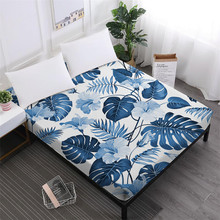 Blue Green Leaves Bed Sheets Plant Print Fitted Sheet Summer Bedclothes Elastic Band Mattress Cover D25
