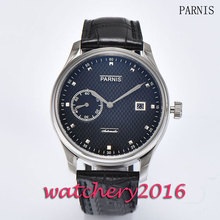 New 43mm Parnis black dial leathre strap men's watches of the famous luxury brand date adjust Automatic movement Men's Watch