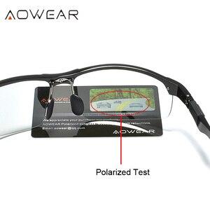 Image 4 - AOWEAR גברים של משקפי שמש ללא מסגרת גברים Porlarized באיכות גבוהה אלומיניום ספורט סגנון שמש משקפיים זכר חיצוני נהיגה משקפי Gafas