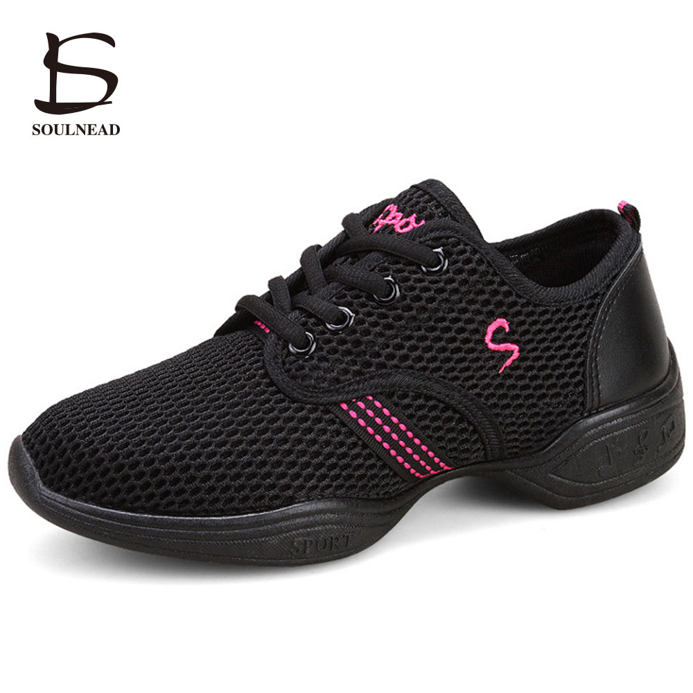 Dance Shoes Woman Breath Mesh Dance Sneakers Square Dancing Shoes Sneakers For Children Female Modern Jazz Shoes Sandalias Mujer