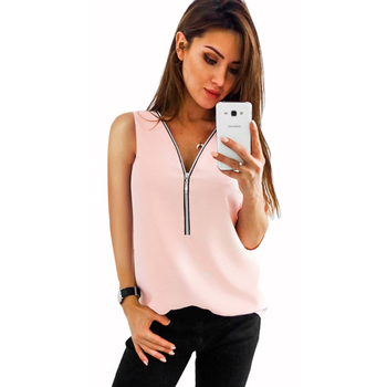 Summer Solid Casual Sleeveless V-Neck Loose Chiffon Blouse Woman Top Zipper Decoration Sexy V-neck Woman Chiffon Blouse