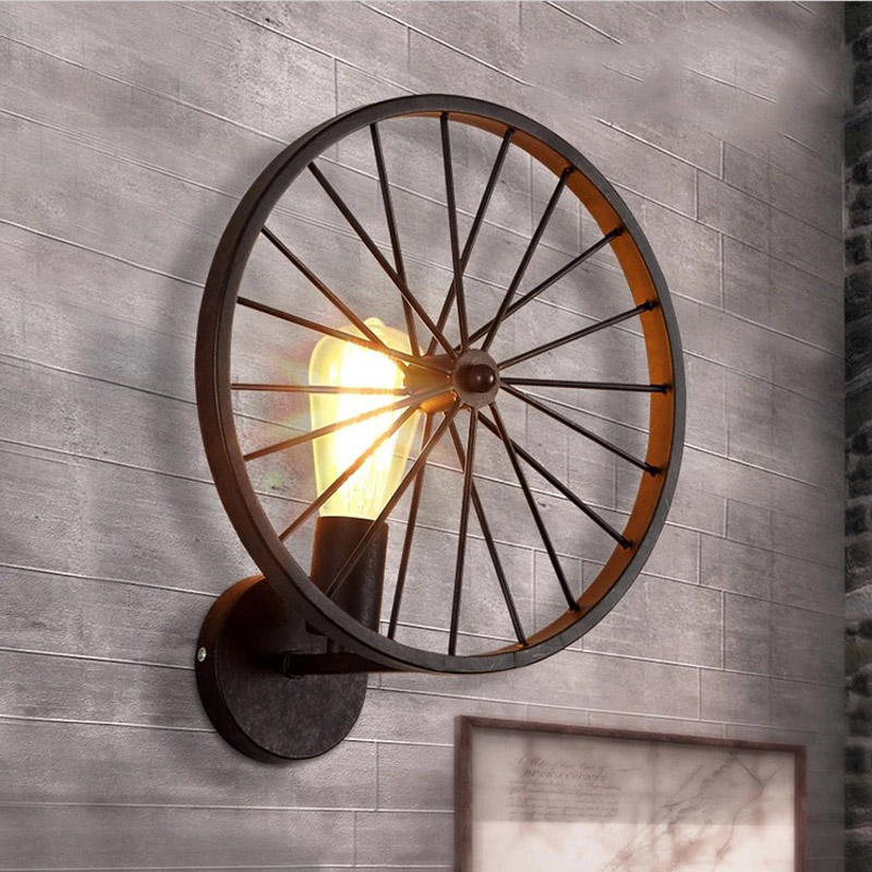 American country iron industrial wind wheel wall lamp Retro loft creative personality Restaurant Bar Living room light GY312 t10