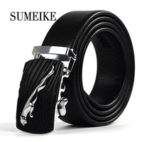 New Style Men Belt Luxury Automatic Buckle Leather Belts For Business Men Top Quality Long Size