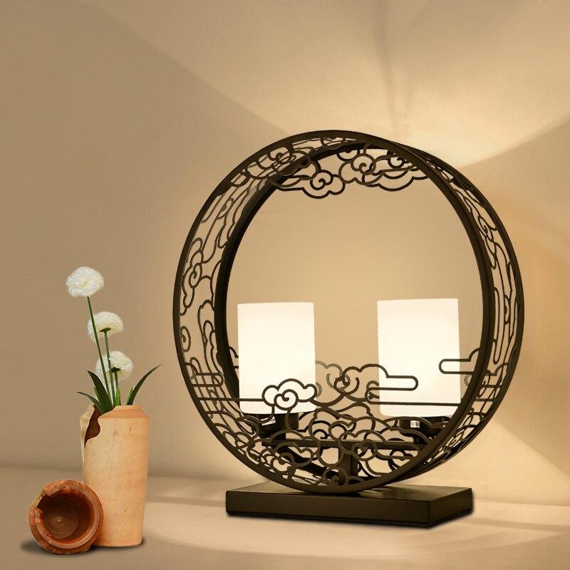 Китайский стиль черный таблицы Art лампы Современная спальня тумбочка лампы и фонари Ретро исследование гостиная za9214