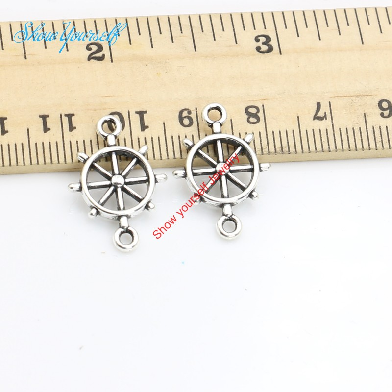 20pcs Antique Silver Plated Rudder Connector Anchor Charm Pendant Jewelry Making Findings Accessories DIY Handmade Craft 21x15mm