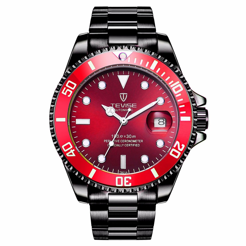 TEVISE Red Watch Men Creative Luminous Watches Date Waterproof Clock Man Blue Automatic Watch Purple Mechanical Wristwatches (3)