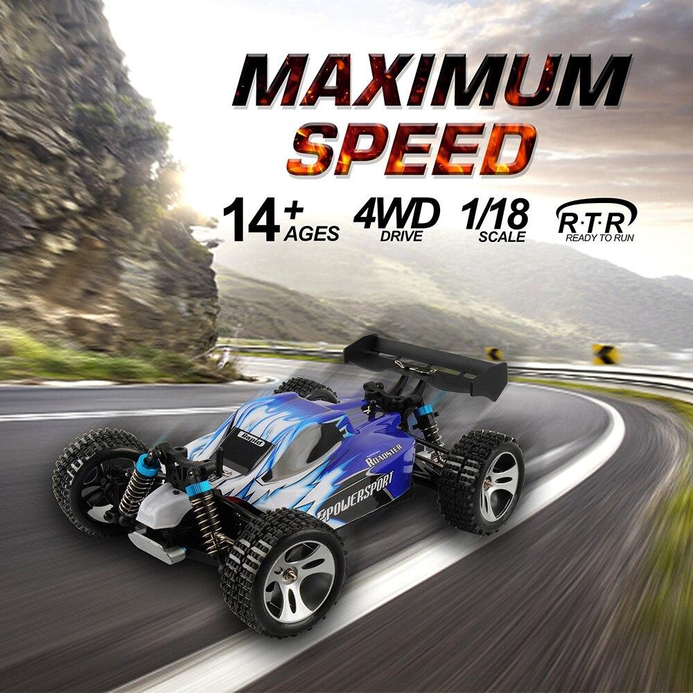 Wltoys A959 50 km/h Alta velocidade 1/18 4WD A959 Versão Atualizada 2.4g Controle de Rádio Carro RC Caminhão Buggy RC off-Road de Brinquedo Para Os Meninos Presentes