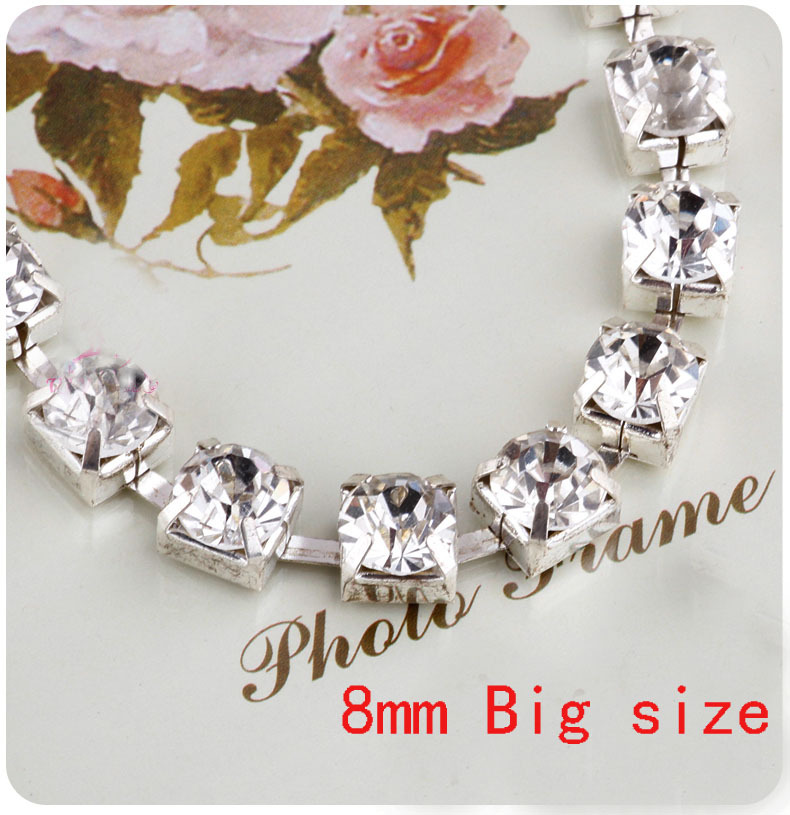 free shippment Big size 8mm10yard lot rhinestonecup chain with AAA clear crystal stone factory price