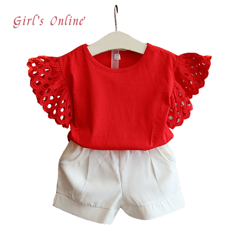 Girls Clothing Set Summer Casual Kids Suits Short-Sleeved Shirts+ Short 2pcs 2018 New Baby Children Clothing 2 3 4 5 6 7 8 Year