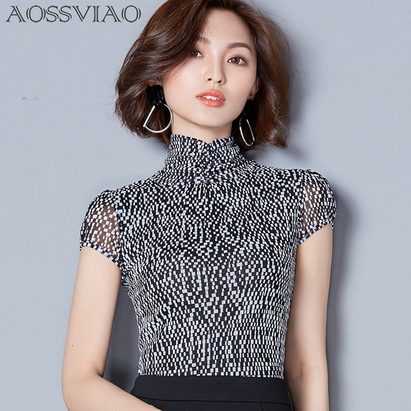 Print Plaid Shirt Mesh Turtleneck Short Sleeves Women Tops