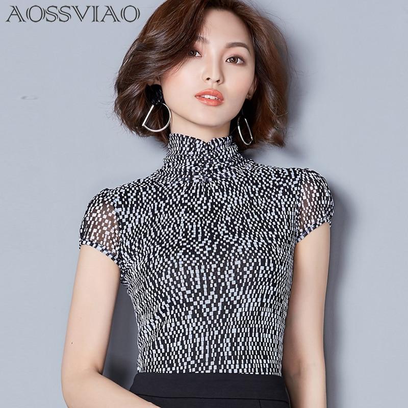 Print Plaid Shirt Mesh Turtleneck Short Sleeves Women Tops 2019 Spring Slim Korean Blouse Womens Clothes Camisas Femininas Black Blouses & Shirts