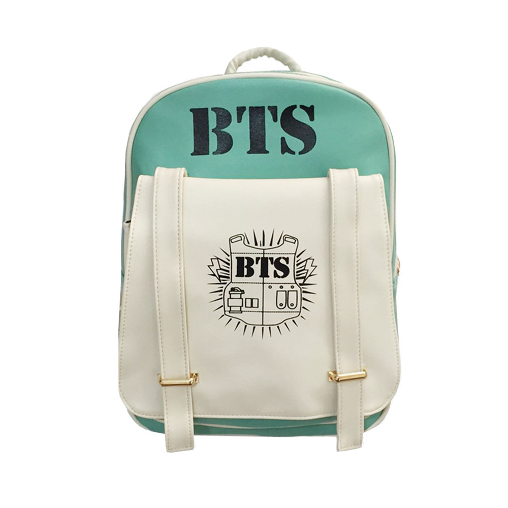 2017 New Korean KPOP Bangtan BTS PU Backpack Mochila Bag Preppy Style Student Girls Schoolbag Women