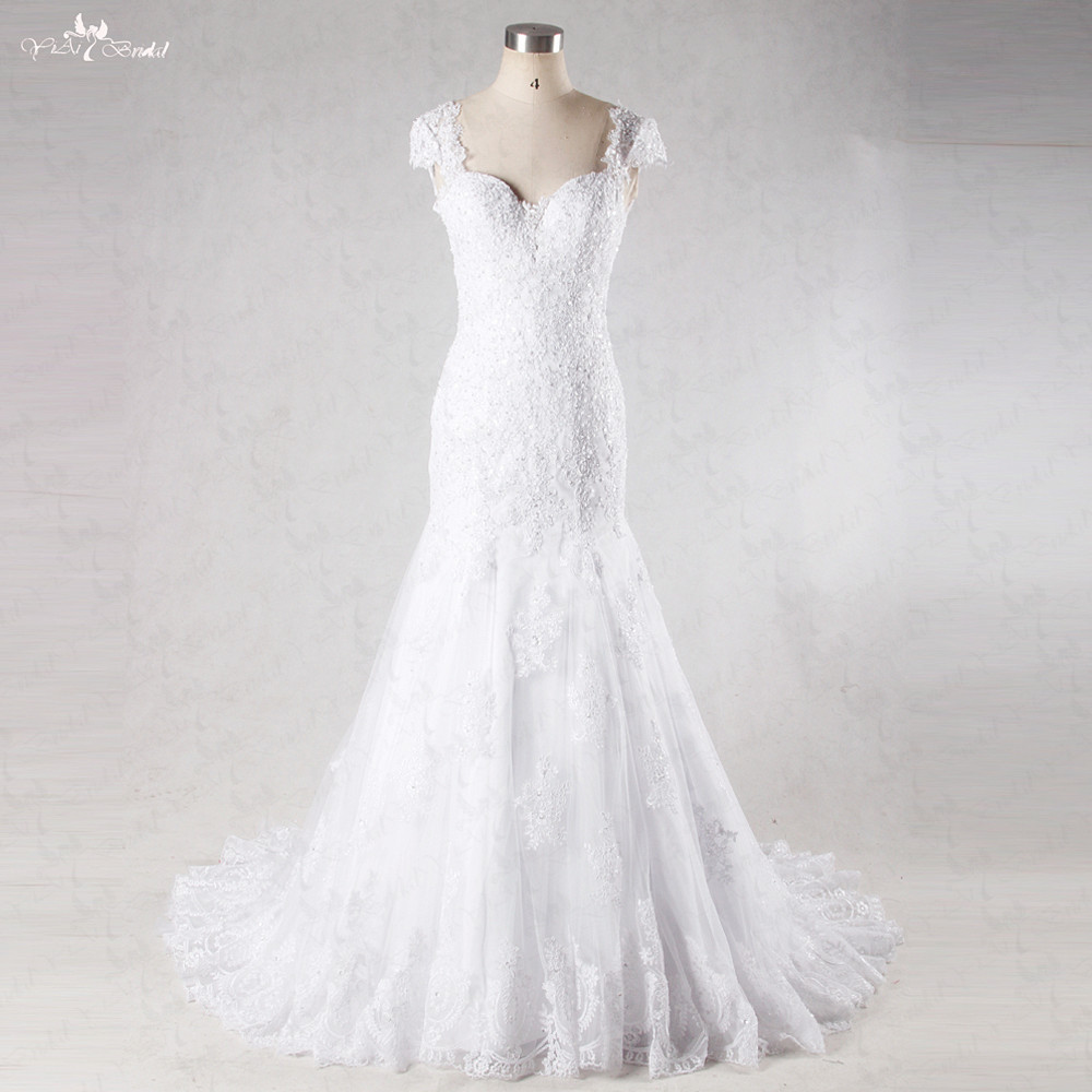Wedding Dresses With Sweetheart Neckline And Sleeves: RSW1038 Cap Sleeves Deep Sweetheart Neckline Front V Back