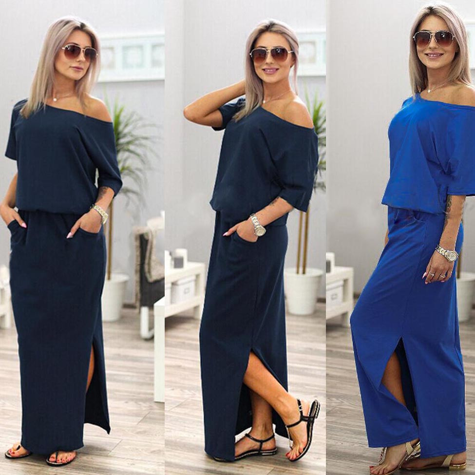 Women Dress Summer Long Maxi BOHO Evening with Pocket Holiday Off Shoulder Split Ladies Summer Beach Party Dress 2018