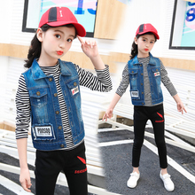 Children girls outerwear Spring Autumn Kids clothes children Cartoon Star Appliques Coat Cowboy Waistcoats Vest for 3-14Y