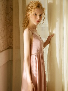 Image 4 - Cotton Long Nightgowns For Women Elegant Princess Deep Pink Sleepwear Cardigan Loose Sexy Night Dress