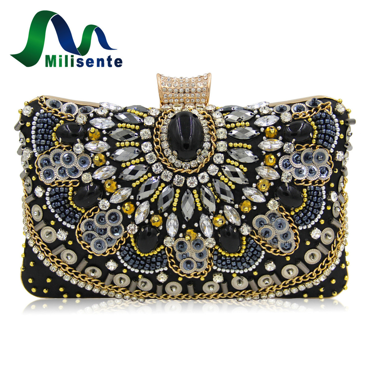 Milisente New Women Luxury Evening Bags Wedding Clutch Purse Sisters Party Bag Diamonds Silver Gold Black Good Quality tentop a new style women s peacock evening clutch bags purse print dot clutch handbag black gold silver party dinner purse 1802k