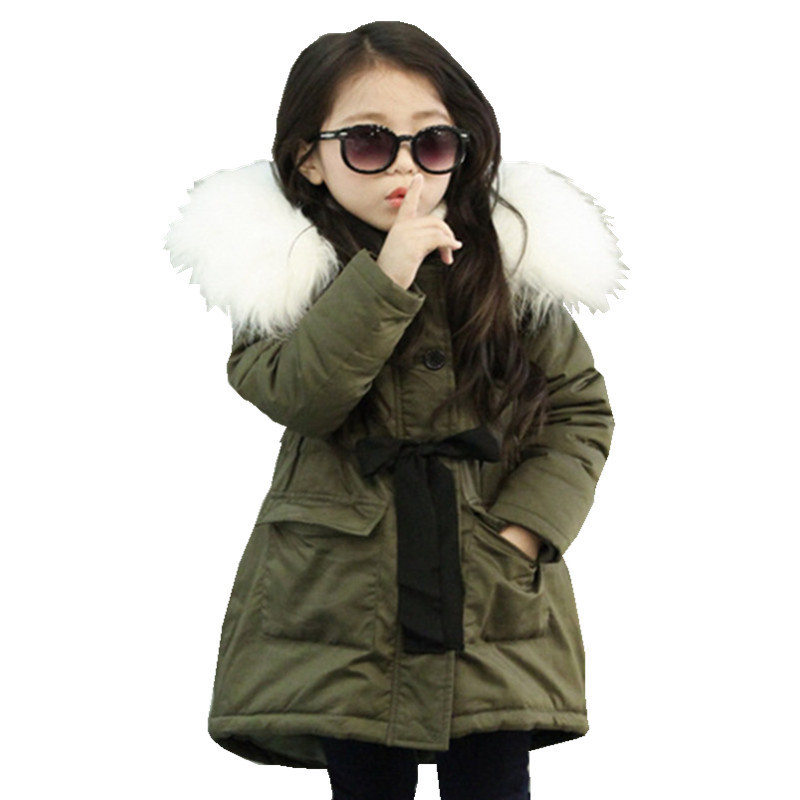New Fashion Kids Girls Coats And Jackets Kids Faux Fur Collar Warm Thick Coat For Baby Girls Children Winter Outwear Clothes