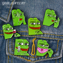 QIHE JEWELRY Pepe the frog meme Enamel pins Collection Pin Back Badges Brooches Feels bad man Feels good man(China)