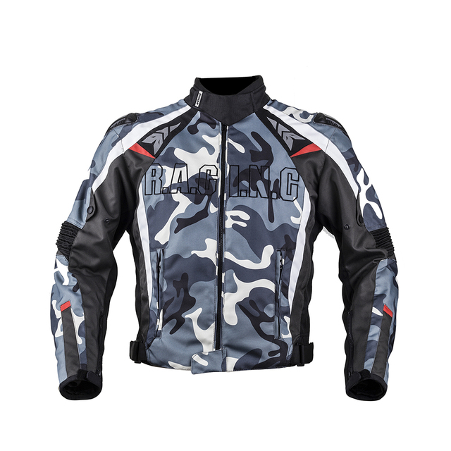 DUHAN Men's Oxford Cloth Motorcycle Jacket Windproof Motocross Off-Road Racing Jacket Guards Clothing With Five Protector Guards