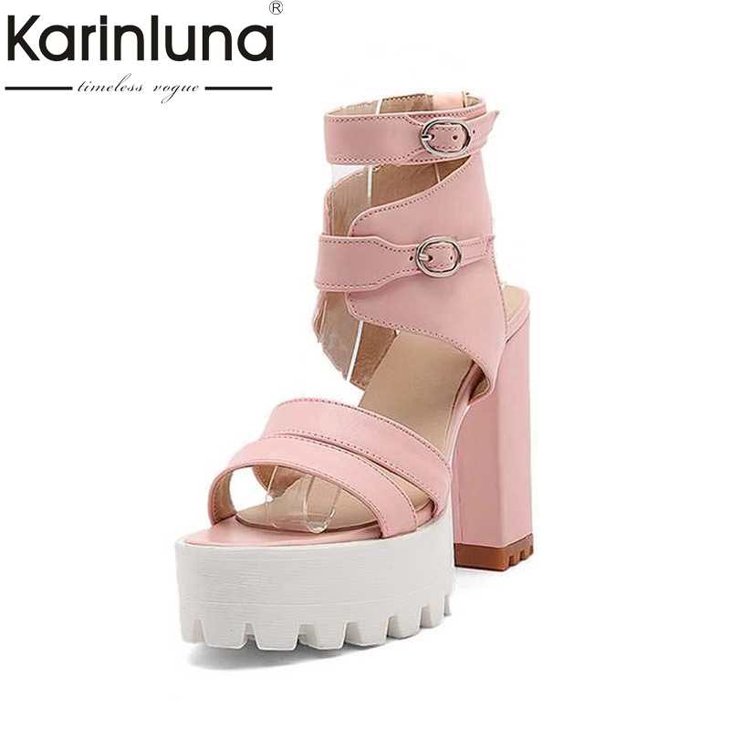 KARINLUNA Buckle Strap Women Sandals Fashion Square High Heel Open Toe Platform Shoes For Summer Woman 2017 Big Size 32-43 xiaying smile summer woman sandals fashion women pumps square cover heel buckle strap fashion casual concise student women shoes